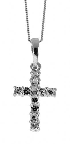 Sterling Silver Cubic Zirconia Cross necklace 3248